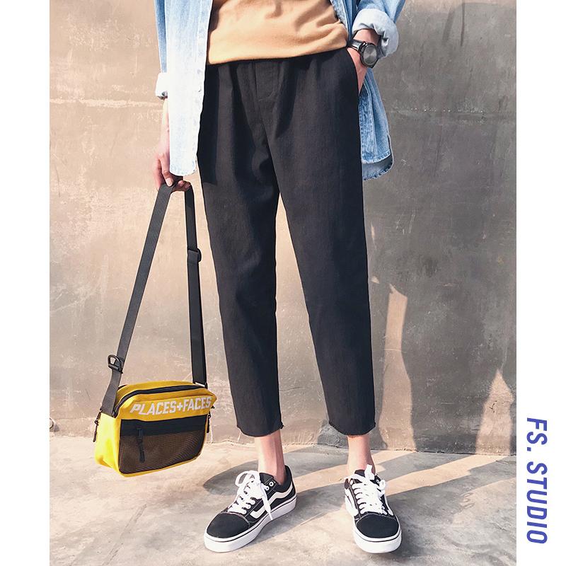 @方少男装 港风夏季男士修身薄款休闲裤韩版潮流宽松直筒九分裤子