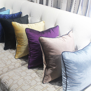 Si Moer plush modern European solid color pillow sofa cushion living room Nordic style pillow headrest back cover