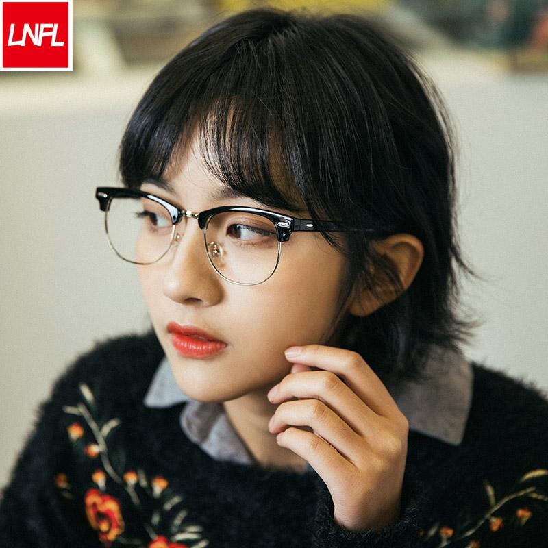 韩版半框平光镜防辐射眼镜男女防蓝光电脑手机护目镜可配近视眼镜