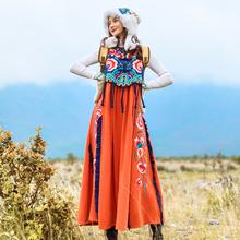 素萝原创 鹿韭ji4民族风女qi冬外搭刺绣加绒背心连衣长裙