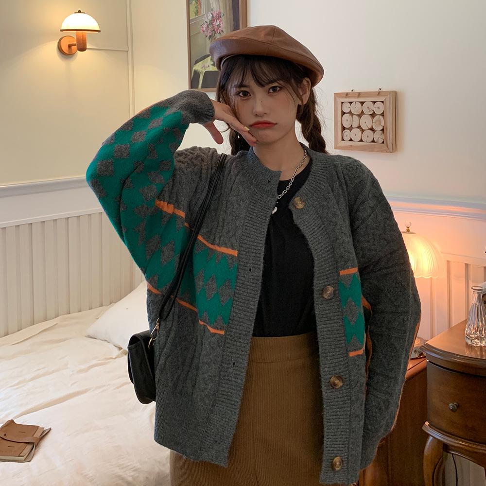 质检实拍实价~10312#chic韩风复古几何麻花针织衫开衫毛衣 -