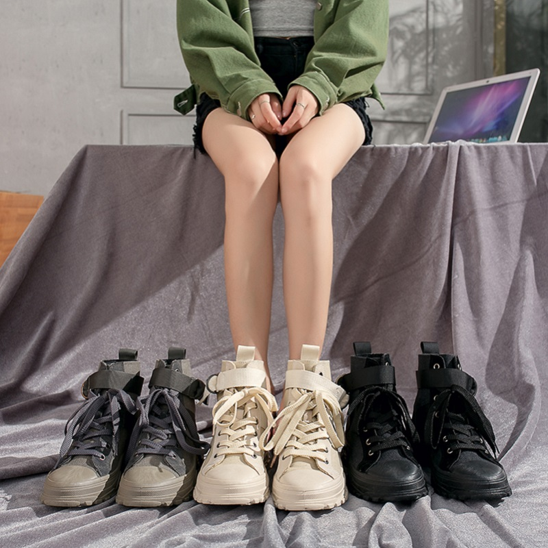 马丁靴女英伦风2019新款百搭学生帅气高帮鞋帆布短靴女春秋单靴子