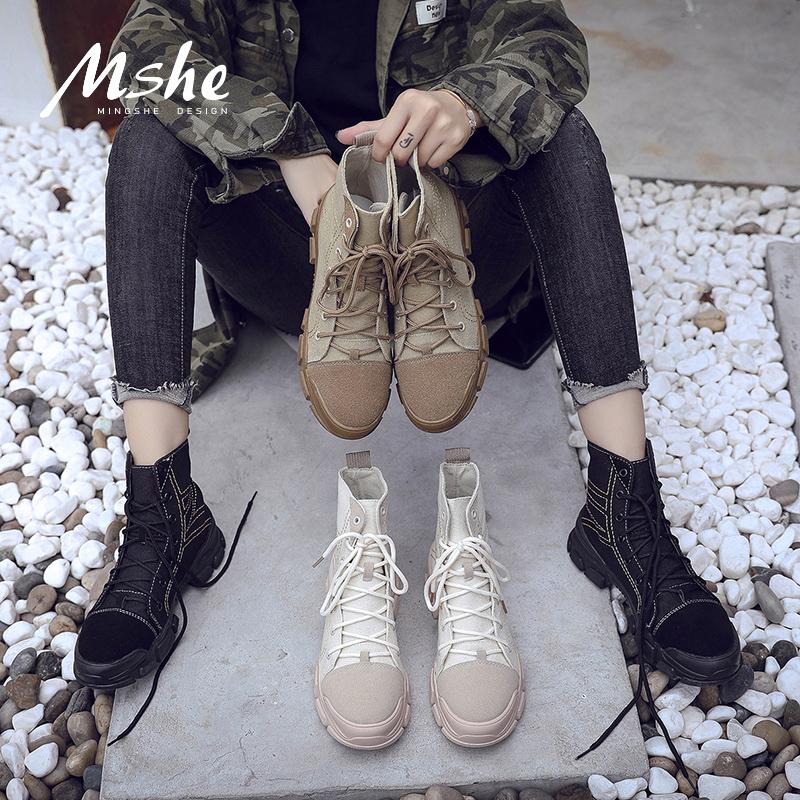 chic马丁靴女2018春秋新款英伦风学生时尚百搭复古机车平底短靴女