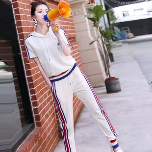 浣纱溪2018夏装新款时尚卫衣两件套女韩版连帽短袖休闲运动套装潮
