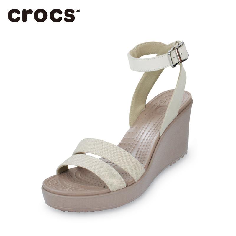 Crocs卡骆驰女鞋蕾丽夏季潮流高跟鞋罗马凉鞋百搭坡跟鞋|11382Q
