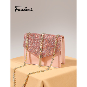 Small ck bag women's bag new 2019 limited star tassels chain bag stitching shiny leather messenger small square bag