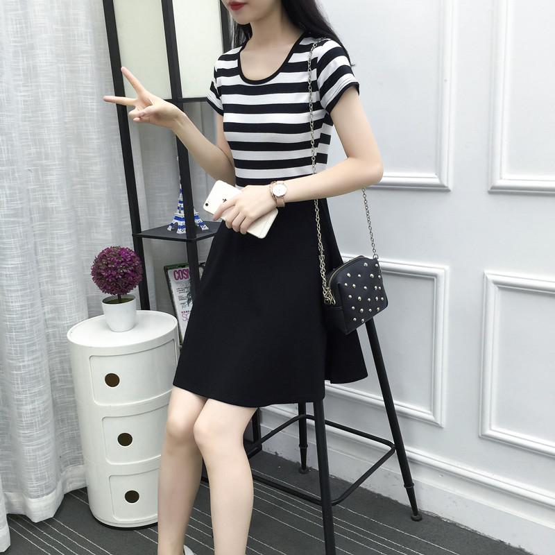 2019夏装新款连衣裙黑白条纹中长款短袖修身显瘦韩版女装百搭裙子