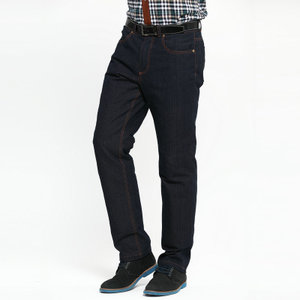 Yu Ang Men's Winter Men's Business Casual Jeans Removable Down Pants Slim Fit Outer Wear Thicken