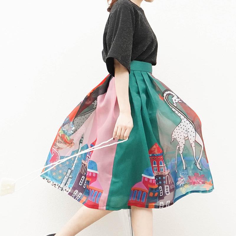 欧根纱a字半身裙中长款春夏新品印花伞裙复古高腰蓬蓬裙百褶裙
