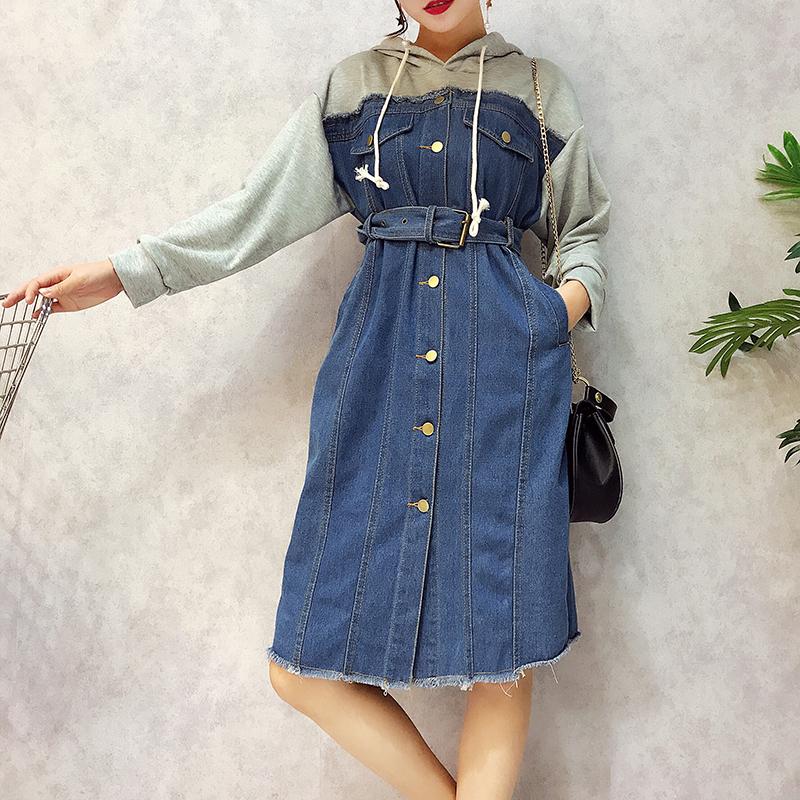 秋季新款女装连帽卫衣撞色拼接假两件收腰单排扣毛边牛仔裙连衣裙