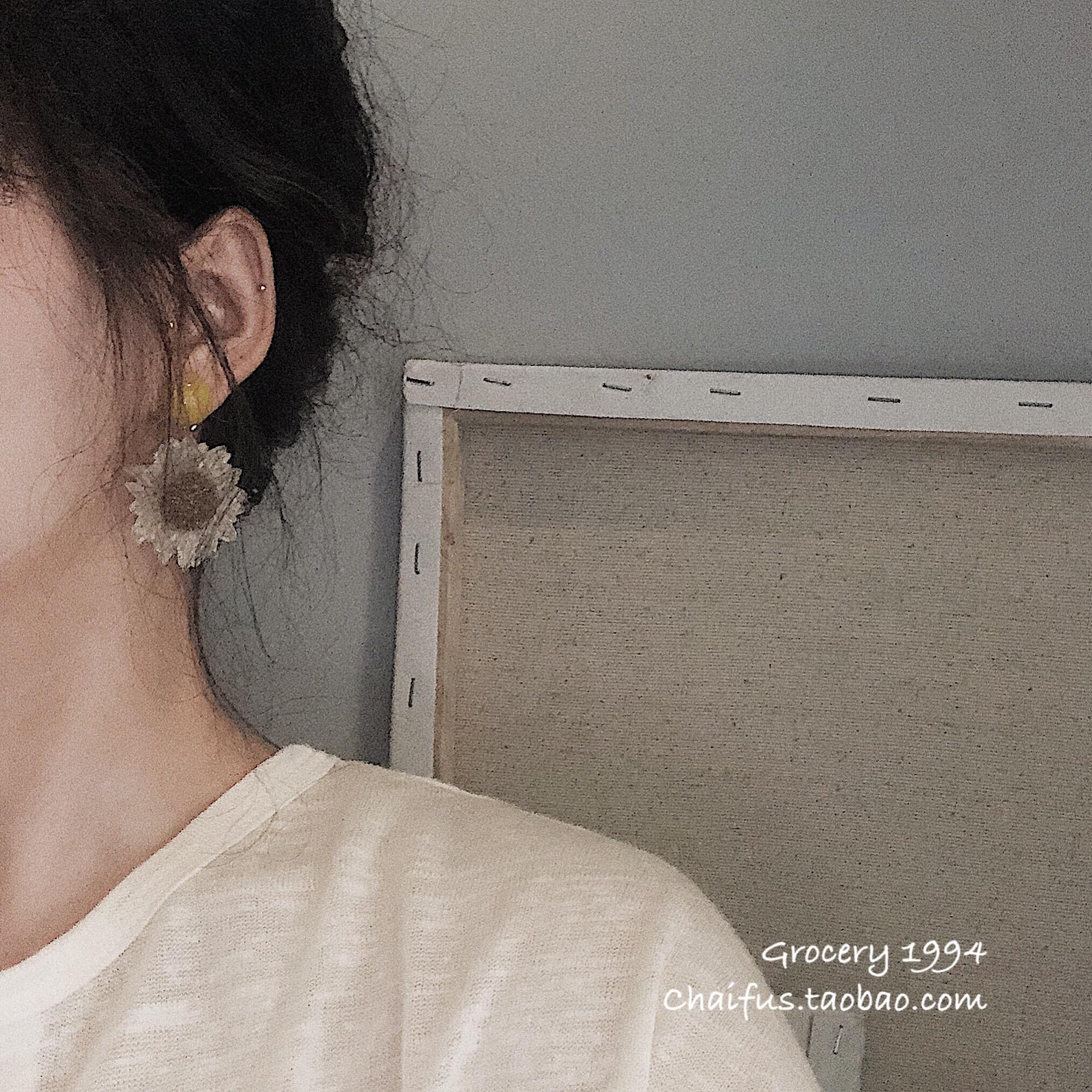 Chaifu studio /E586 小清新超仙少女ins透明向日葵花朵耳坠耳环
