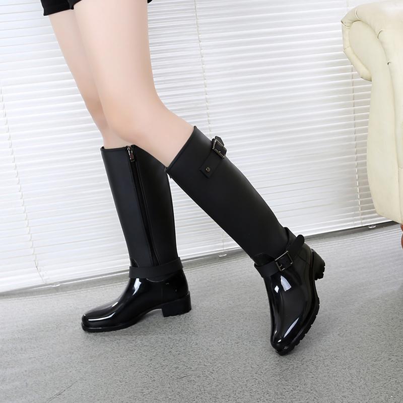 春新款时尚拉链雨鞋女高筒成人韩国水靴防滑马丁雨靴长筒防水鞋女