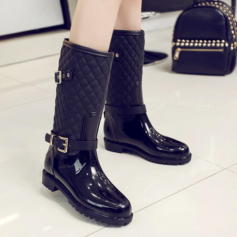 时尚马丁雨鞋女 中筒 韩国防水鞋 女成人水靴 防滑雨靴女平底胶鞋