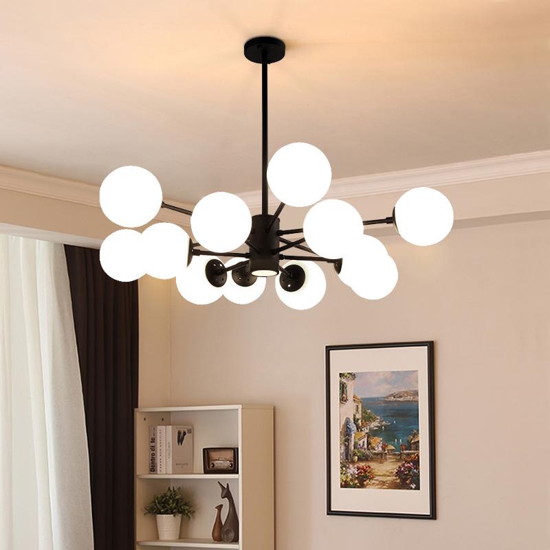 简约现代LED客厅灯北欧创意卧室餐厅吊灯个性玻璃球魔豆分子灯具_大观园旗舰店