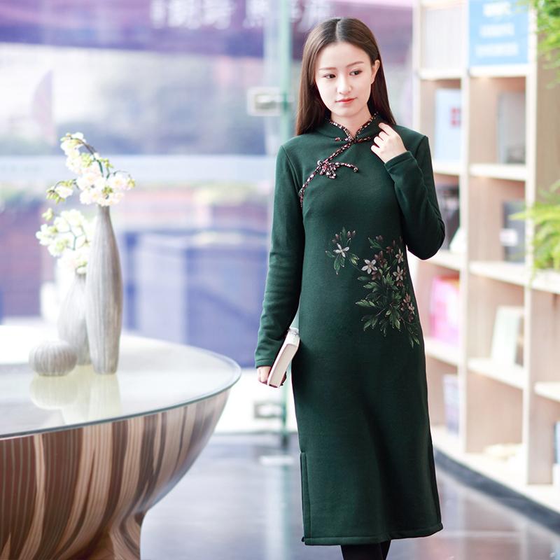 伶俐 柠檬 复古 中国 女装 手绘 民族 连衣裙 现货