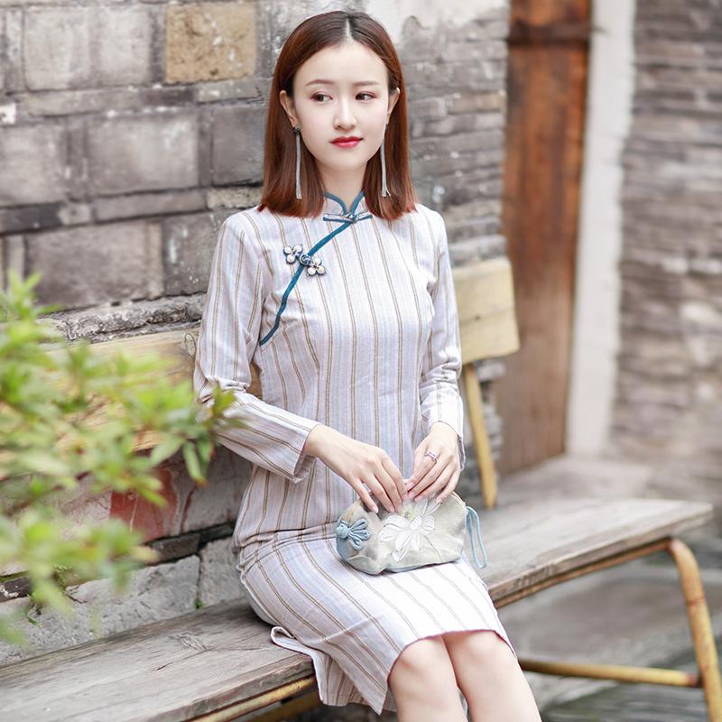 伶俐柠檬30359复古文艺自制女装民国风原创旗袍中长连衣裙--限