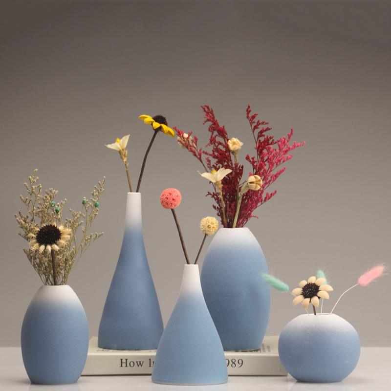 北欧磨砂陶瓷花瓶摆件现代简约欧式插花干花花器客厅家居软装饰品