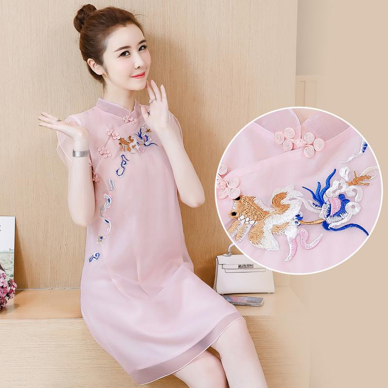 2020夏季新款复古民族风时尚中国风加密刺绣改良旗袍连衣裙女