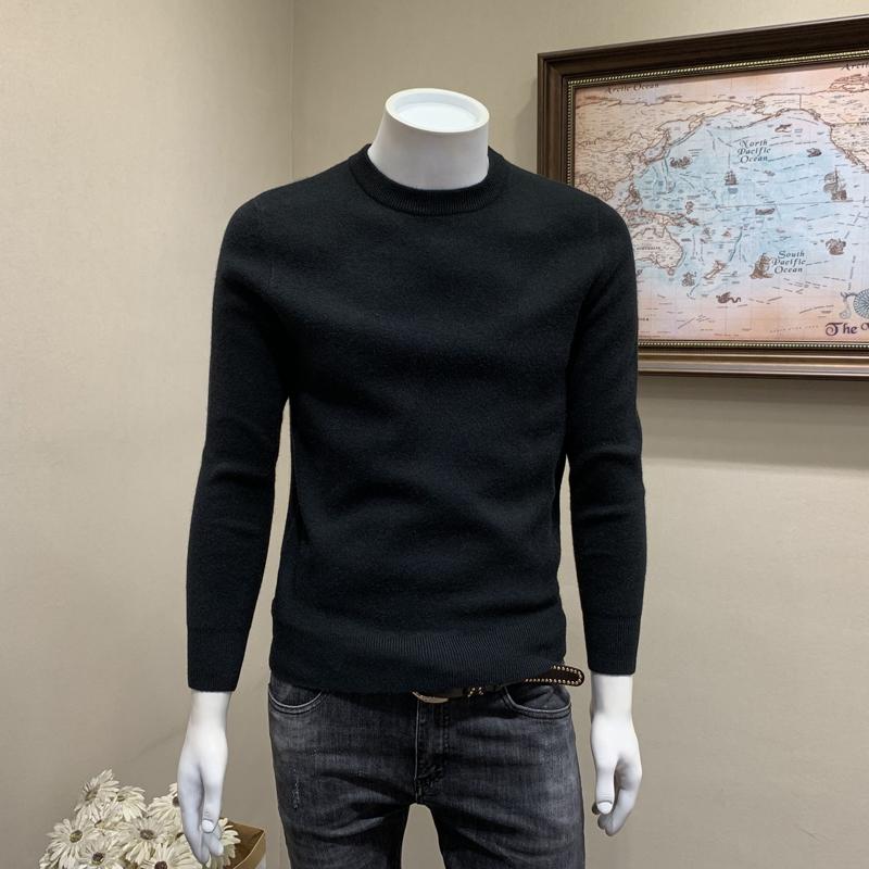 冬季新款圆领毛衣男士潮流套头纯色针织打底衫韩版修身毛线衫男潮