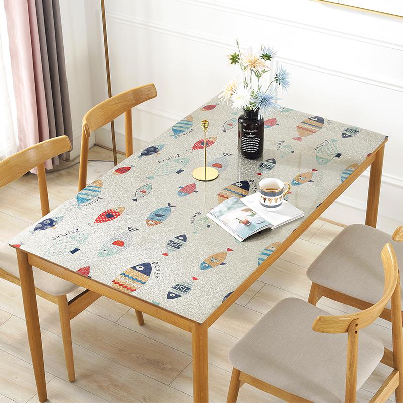 软玻璃PVC印花桌垫餐桌布防水防烫防油免洗家用长方形台布水晶板