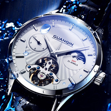 Waterproof Fashion Trend of Men's Machinery Watches for Guanqin Watches 2018 New Fully Automatic Flywheel Watches for Men with Hollow Watches
