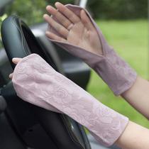 薄款冰丝漏指防晒手套女短款骑开车户外防紫外线蕾丝棉中长款袖套
