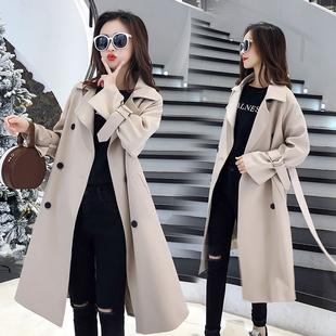 休闲风衣女中长款2020新款秋季小个子英伦风衣外套女大衣气质宽松图片