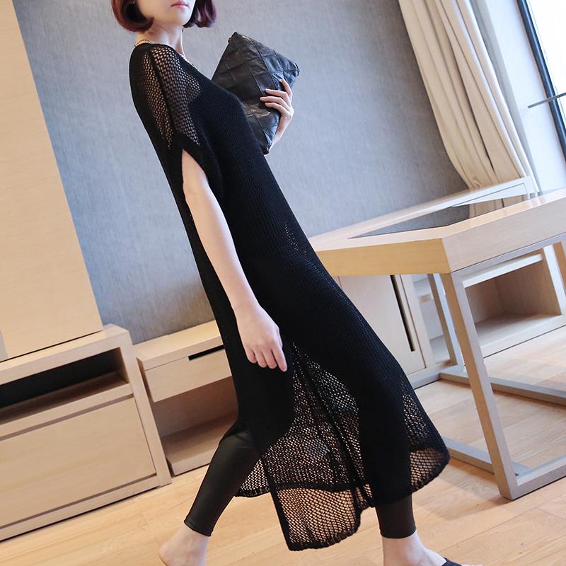 针织裙短袖中长款2019款连衣裙夏天黑色显瘦冰丝镂空开叉套头罩衫