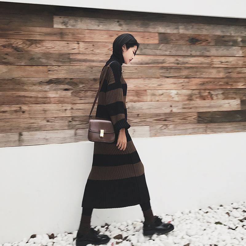2017秋冬新款毛衣裙 条纹拼色长袖针织裙 中长款高领连衣裙女冬