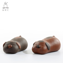Porcelain Porcelain Hui Zisha Taofu Pig Tea Favorite Ornaments Cute Porcelain Tea Table Table Pet Tea Ceremony Accessories
