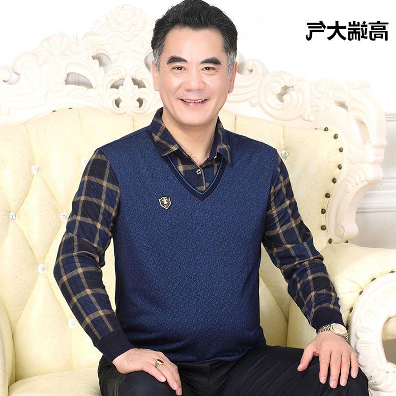 春秋季中年男士长袖t恤 中老年人爸爸装假两件套男装上衣加绒加厚