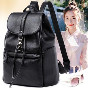 双肩包女2018新款韩版百搭潮时尚個性旅行包包休闲软皮防盗女背包