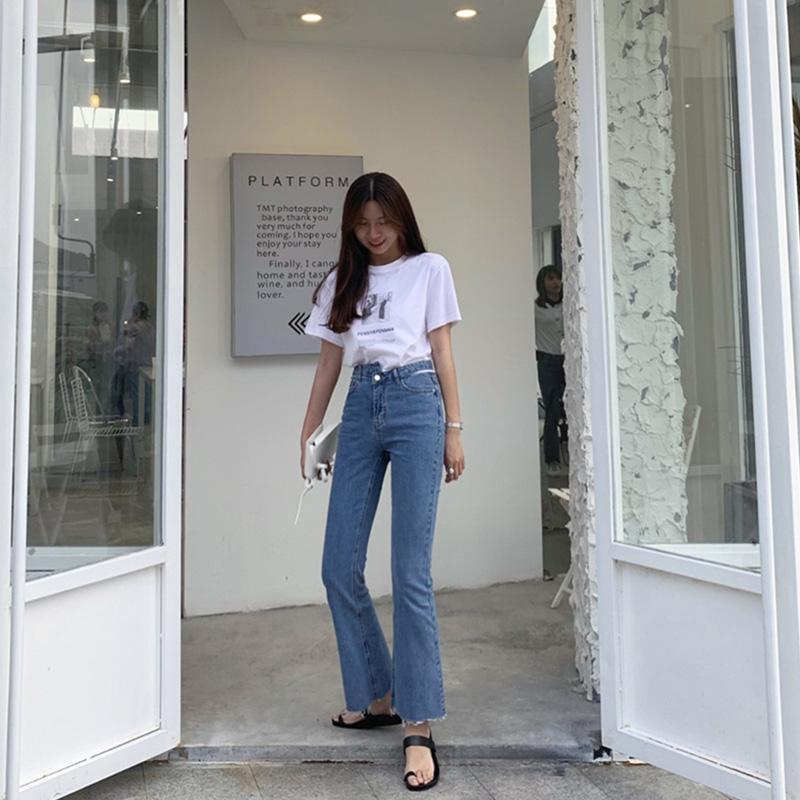 LIL CHER复古高腰显瘦直筒牛仔裤女夏季2019新款韩版微喇裤子长裤