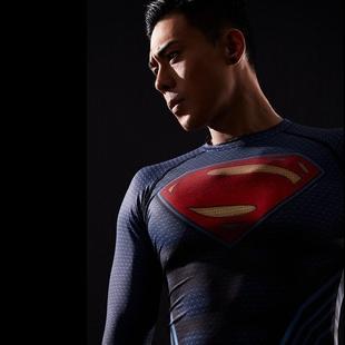 超人t恤cos正义联盟夏季透气短袖弹力紧身上衣吸汗速干健身训练服图片
