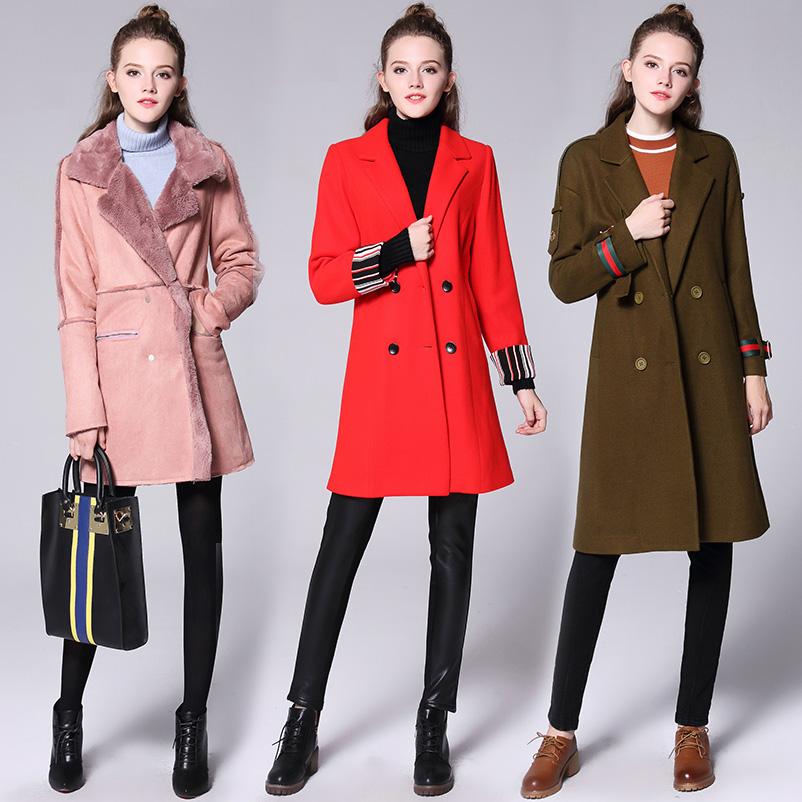 2017胖mm冬装新款大码女装毛呢外套中长款呢子大衣胖妹妹加厚保暖