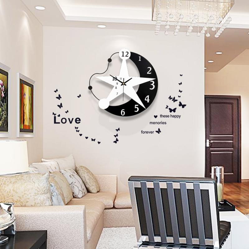 钟表挂钟客厅创意个性时尚挂表现代简约家用卧室免打孔时钟挂墙表图片