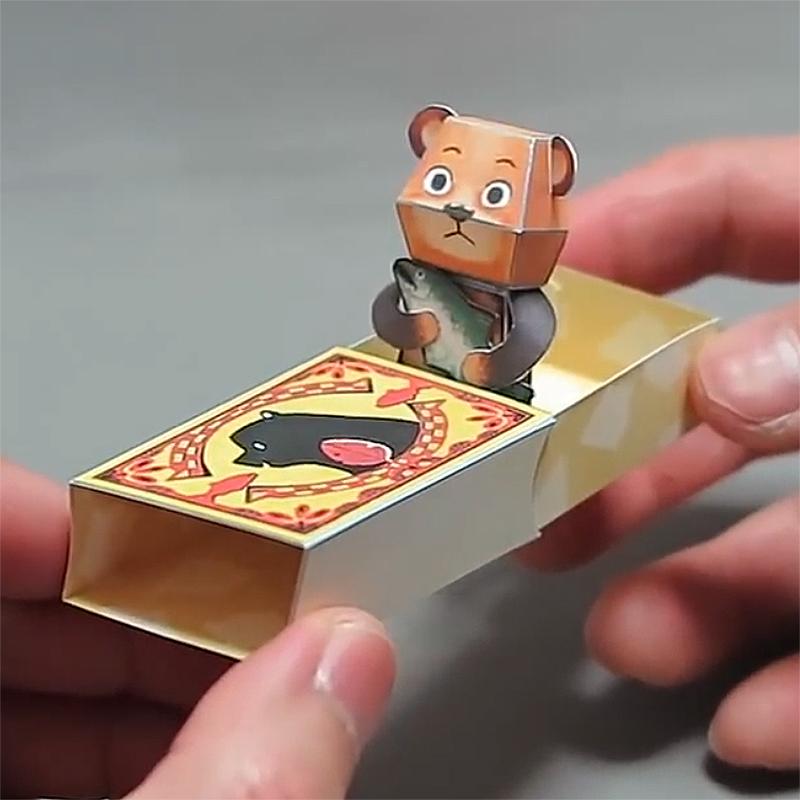 机关弹跳动态折纸中村开己立体动物手工DIY纸模型剪纸玩具