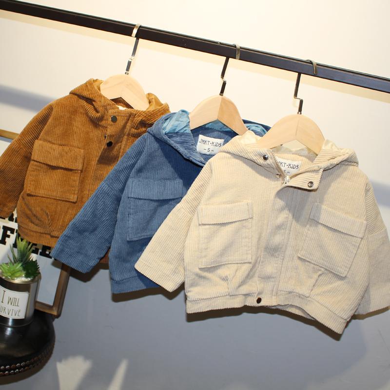 宝宝外套童装2拉链开衫3男小童秋装5秋季灯芯绒上衣5男童春秋外衣