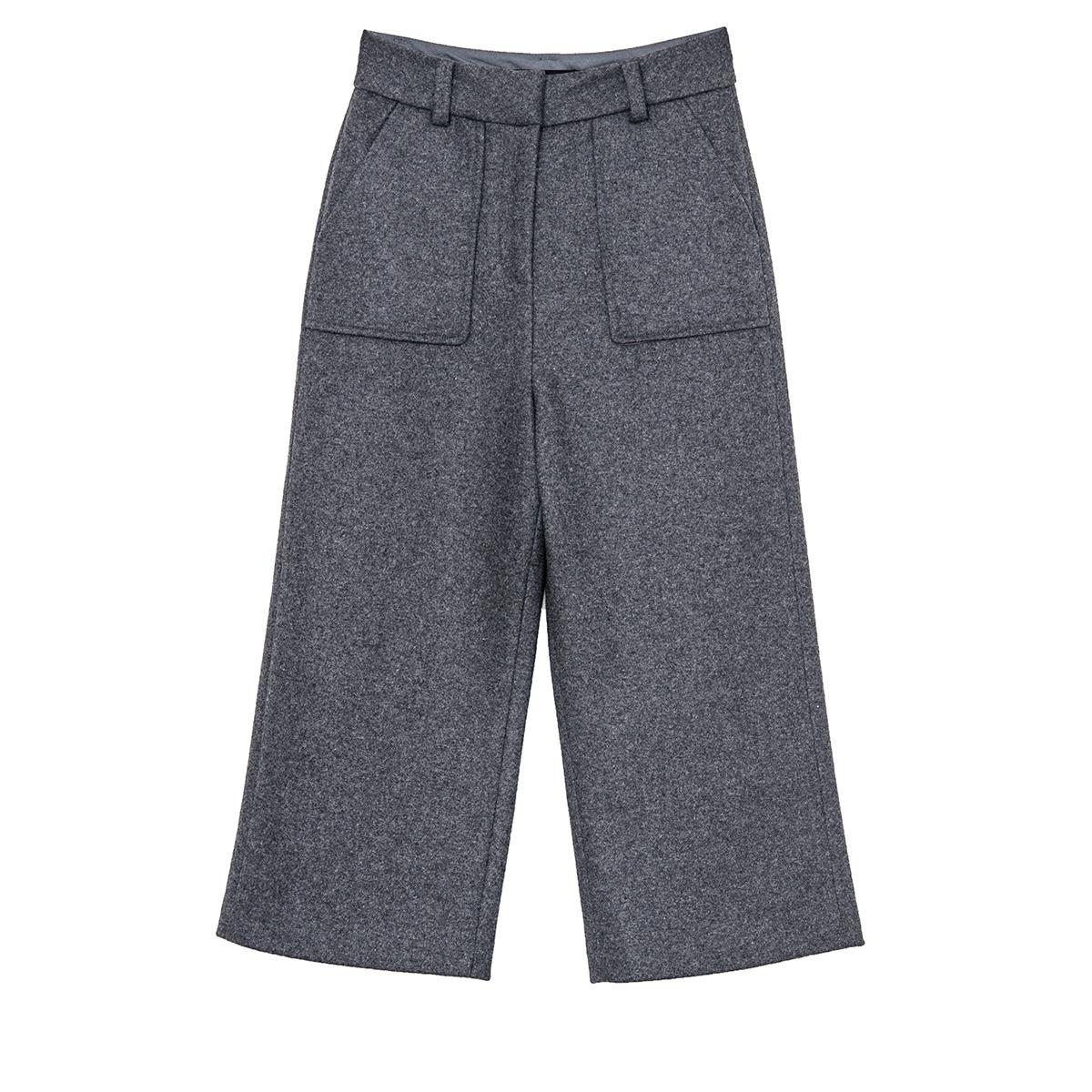 南瓜谷高腰休闲裤百搭宽松毛呢阔腿裤加厚保暖九分女直筒裤K324