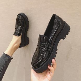 厚底小皮鞋女英伦风2020新款秋季学院风松糕底单鞋粗跟平底乐福鞋图片