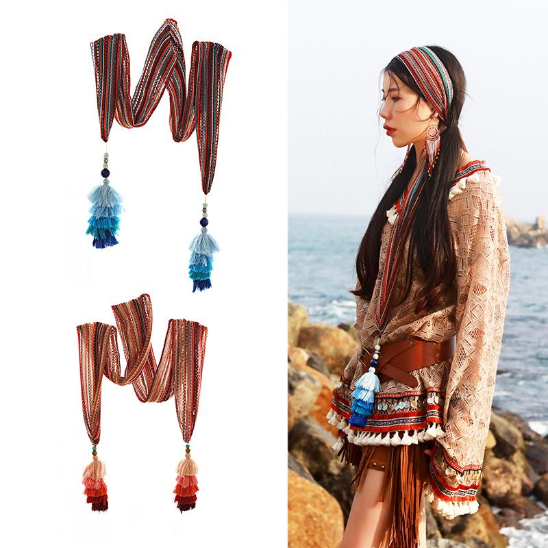 麦叙 波西米亚复古民族风彩色海边度假针织流苏宽发带百搭头饰