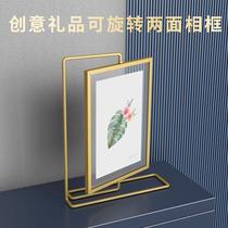 觅物文创 双面金色旋转金属相框678寸结婚登记照摆台定制加洗照片