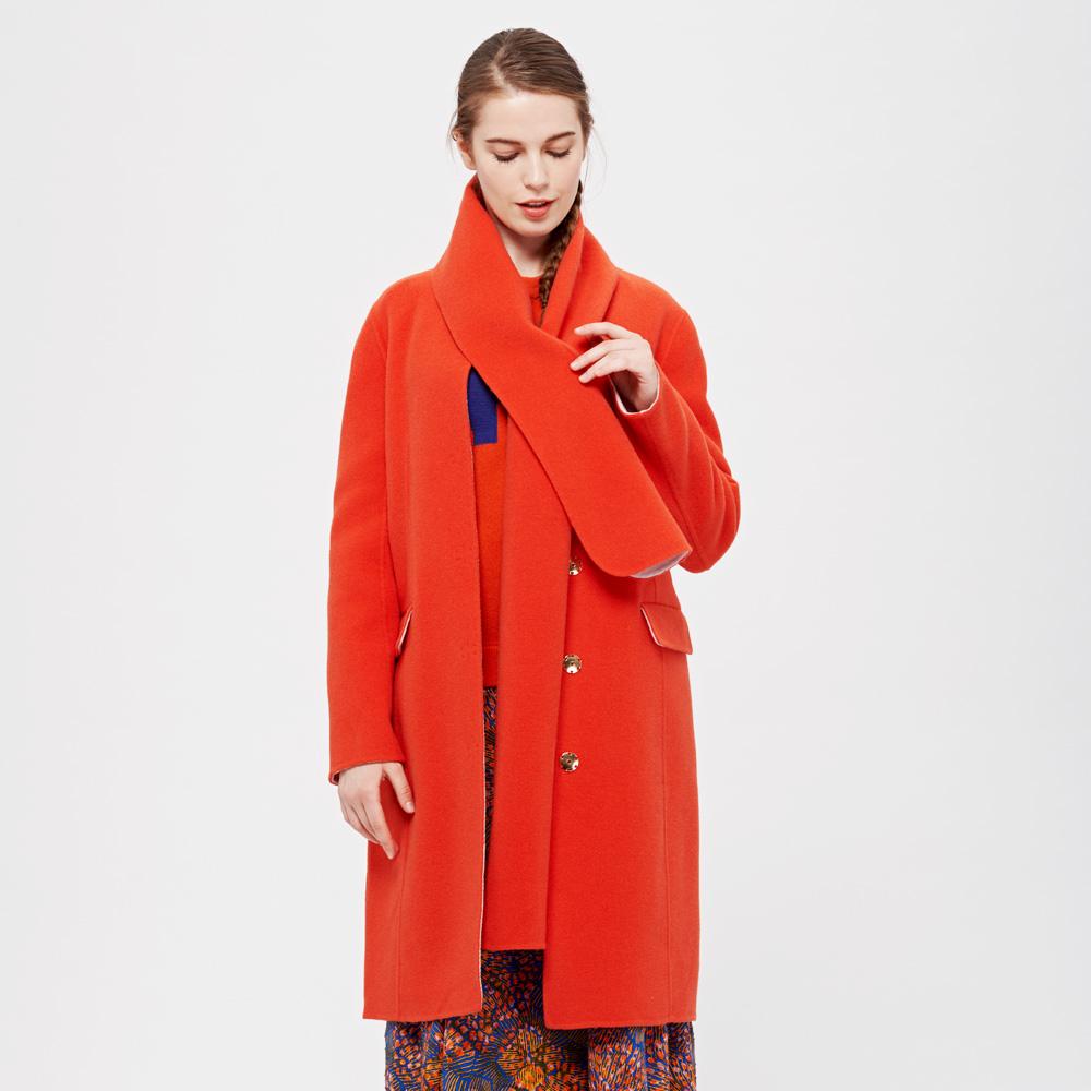 DECOSTER/德诗羊毛尼龙有围巾直身长款双面呢外套大衣8F1531131