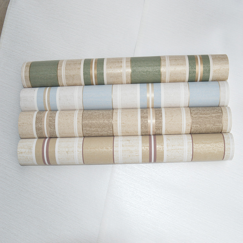 进口纯纸壁纸木纤维环保现代简约竖条纹客厅卧室书房电视背景墙纸