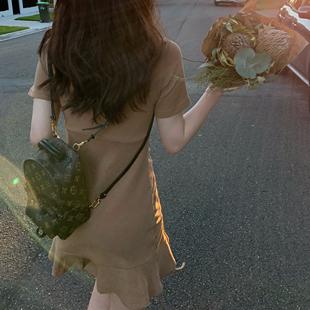 新款夏季修身连衣裙,荷叶边小个子女裙、仙气、显瘦、显高