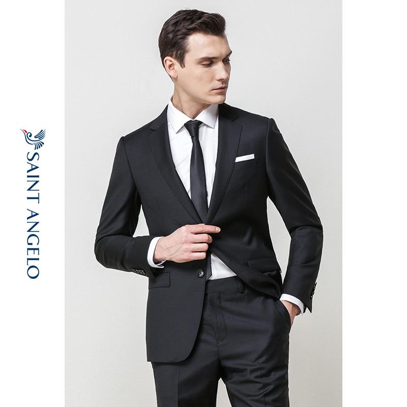报喜鸟秋季新款男士商务正装西服套装 修身羊毛两粒扣黑色男西装