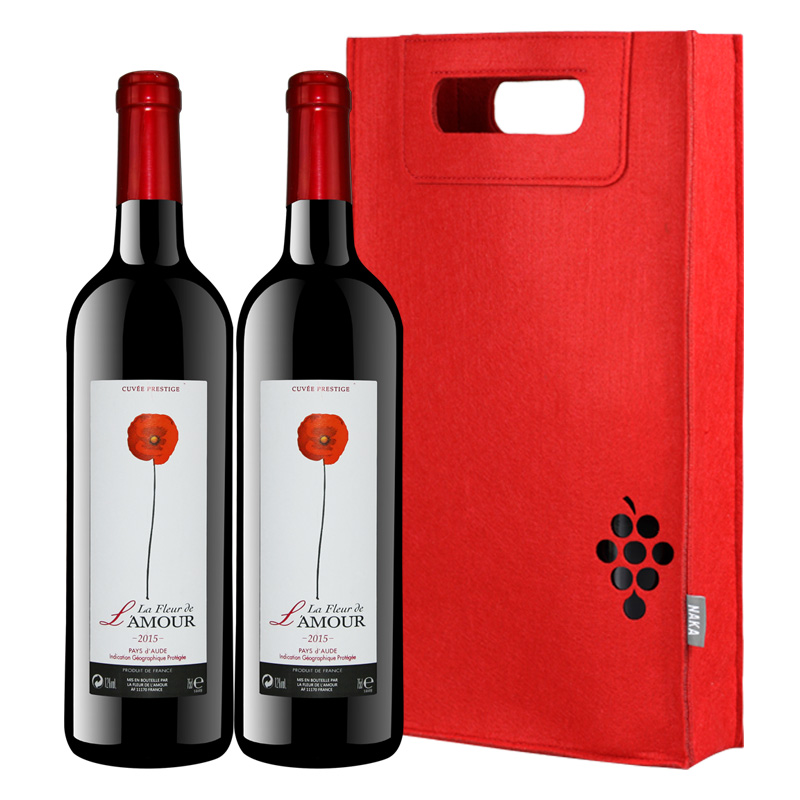 宝真酒业 送礼红酒法国进口红酒2支 浪漫之花干红葡萄酒礼袋装