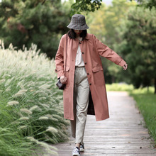 中长式粉色两bw3穿外套女r1穿春秋式娃娃领风衣女秋装新式