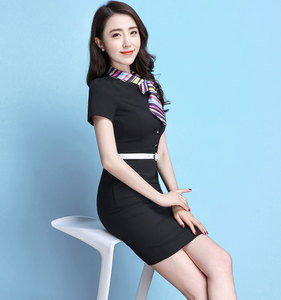 Short-sleeved professional dress dress OL fashion stewardess interview uniform catering waiter club overalls package hip skirt