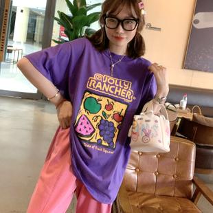 兔美善韩国进口代购女装 秋冬 卡通水果图案高饱和洋气紫减龄T恤图片